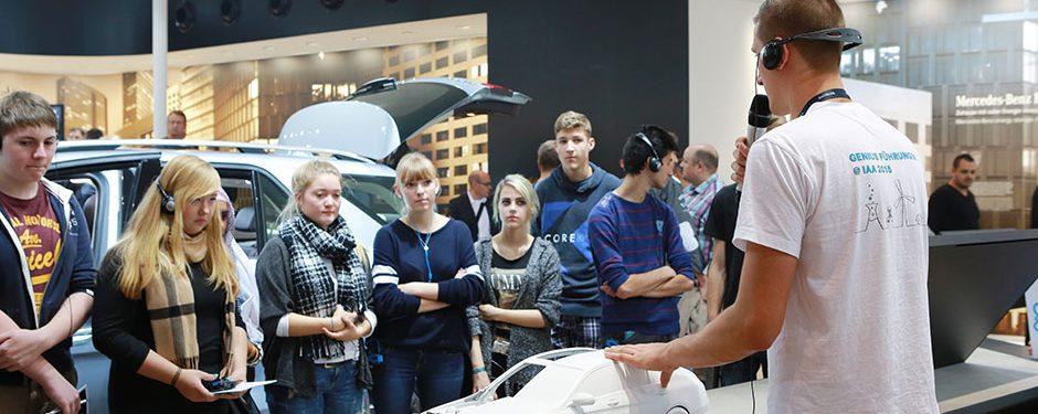 Führungen für Schüler, Schülerführungen auf der IAA 2017, IAA PKW, Frankfurt am Main, Messe Frankfurt, Internationale Automobilausstellung