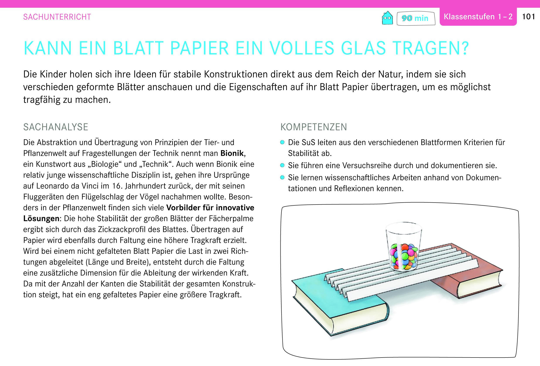 Genius Box: Kann ein Blatt Papier ein volles Glas tragen? Sachunterricht, Klassenstufen 1-2